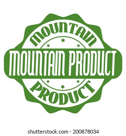 Mountain product stamp or label on white, vector illustration