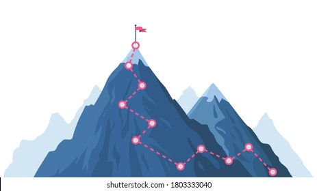 Mountain progression path. Climbing progress route, mountain peak overcoming, mountain climbing path with red flag on top vector illustration. Way path infographic, progress way to peak