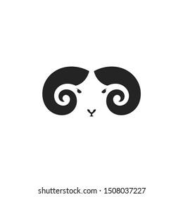 Mountain ram. Logo. Mouflon ram on white background