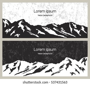 Mountain range banners. Outdoor and travel concept for advertising. Set of vector illustration in black and white.