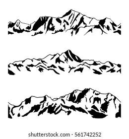 Mountain range drawing set. Mountain seamless border. Vector illustration