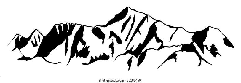 Mountain range drawing. Simple vector illustration