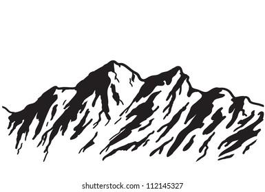 Mountain range isolated on white. Vector illustration.