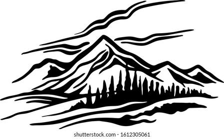 Mountain Range landscape black and white