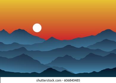 Mountain Range Layers at Sunset - Vector Illustration