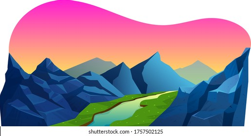 Mountain range and natural valley area, alpine river lake clean air landscapes isolated on white, cartoon vector illustration. Endless travel earth place, mountainous massif journey.