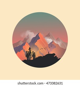 Mountain range peaks catching the evening sunlight. Vector illustration