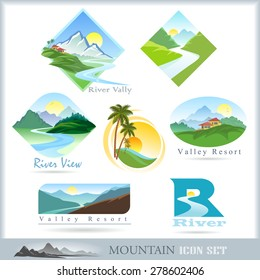 Mountain range and river icons