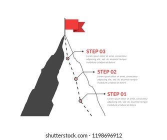 Mountain with red flag and with route to the top, three steps to success, vector eps10 illustration