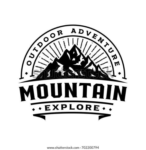 Mountain retro logo template, logo badge