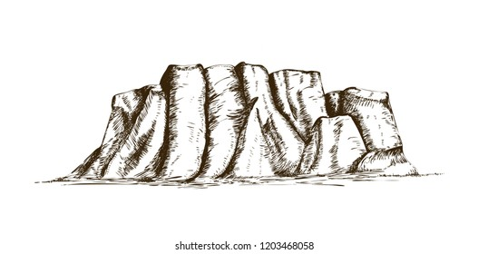 Mountain ridge or natural landmark hand drawn in vintage engraving style. Beautiful retro drawing of rock cliff, plateau or tableland isolated on white background. Monochrome vector illustration.