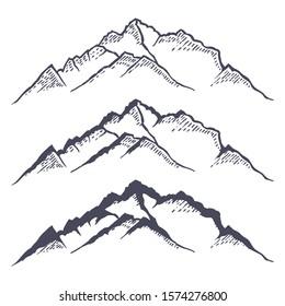 Berggrat oder Höhenbereich handgezeichnet mit Konturlinien auf weißem Hintergrund. Elegante Vintage Zeichnung von Felswand oder Berg. Monochrome Vektorillustration