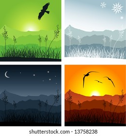 Mountain ridges with grass in the foreground. Four different versions representing winter, sunset, spring and night