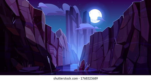 Mountain river in canyon at night. Vector cartoon landscape of nature park, water stream in gorge with stone cliffs and rocks. Grand canyon national park in Arizona