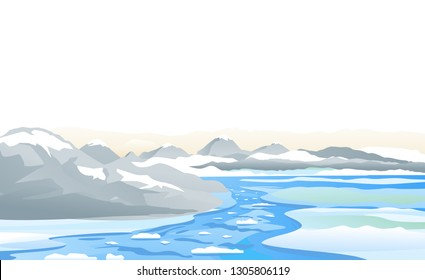 Mountain river flow with ice near rocks, spring nature landscape illustration, water flow in melting river among ice coast near mountains