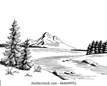 Mountain river graphic art black white landscape sketch illustration vector
