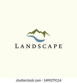mountain and river landscape vector logo design template