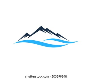 Mountain River Logo Design Template