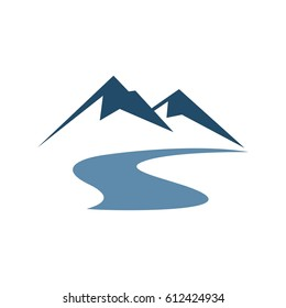 Mountain and River Vector Illustration Design. Vector EPS 10.