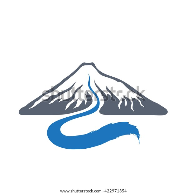 mountain river vector logo illustration stock vector royalty free 422971354 shutterstock