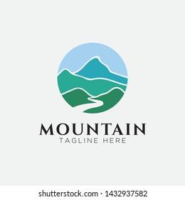 Mountain with river view logo design-vector