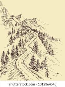 Mountain road, alpine landscape