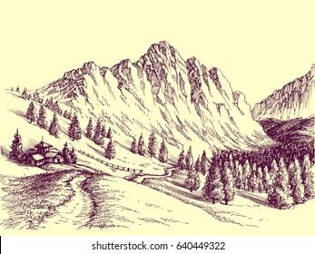 Mountain road, alpine scene illustration