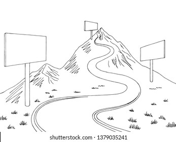 Mountain road billboard graphic black white landscape sketch illustration vector