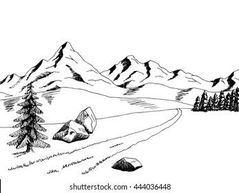 Mountain road graphic art black white landscape illustration vector