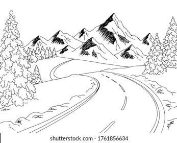 Mountain road graphic black white winter landscape sketch illustration vector