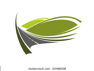 Mountain road icon with modern highway passes through the green valley with domed hills, for travel or transportation themes