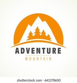 Mountain rock and pines outdoor camping labels. Adventure mountain pine tree logo. Vector climbing label, hiking travel and adventure illustration