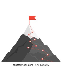 Mountain route infographic. Journey challenge path business goal career growth success climbing mission. Mountains path steps vector concept