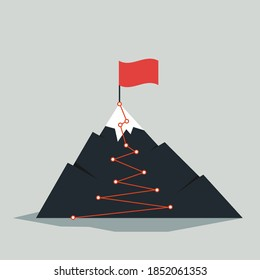 Mountain route infographic. Journey challenge path business goal career growth success climbing mission. Mountains path steps vector concept.