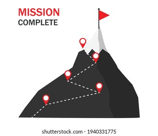 Mountain route infographic. Step stair four elements to success. Mission complete concept. can be used for process, presentations, layout, infographic. business and finance goal. vector illustration.