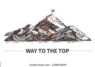 Mountain route vector illustration. Climbing route to top. Bisiness design concept about way to top and success. Sketch hand drawn rock