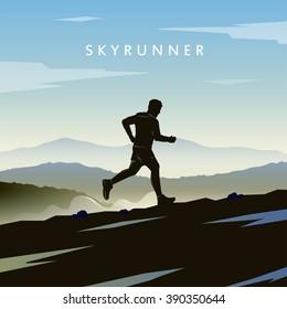 Mountain Running. Runner silhouette. Skyrunning poster. Extreme sports. Vector Mountain landscape.