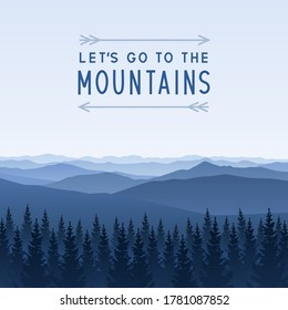Mountain scene with coniferous forest - landscape for poster and banner design