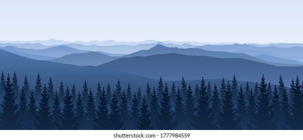 Mountain scene with coniferous forest - panoramic horizontal landscape for banner design