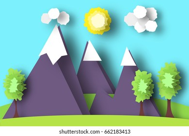 Mountain Scene Paper World. Rural Life with Cut, Meadow, Trees, Clouds, Sun. Colorful Crafted Countryside. Summer Landscape. Cutout Applique. Hanging Elements. Vector Illustrations Art Design.