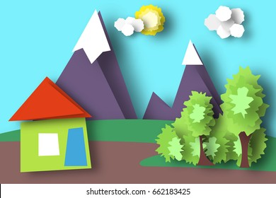 Mountain Scene Paper World. Rural Life with Cut, House, Meadow, Trees, Clouds, Sun. Colorful Crafted Countryside. Summer Landscape. Cutout Applique. Hanging Elements. Vector Illustrations Art Design.