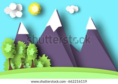 Mountain scene paper world rural life stock vector royalty free