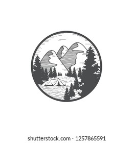 mountain scenery with forest , logo concept - vector