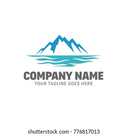 Mountain Sea - Iceberg Logo - Mountain Lake Vector