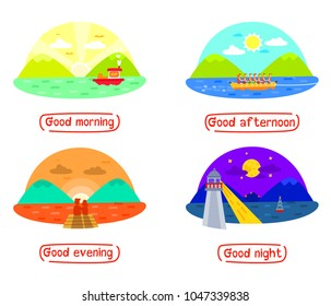 Mountain and Sea landscape in different times of day, Good morning, good afternoon, Good evening, Good night, day and night, Times of day, 4 times for people routine, Four scenes in different times.