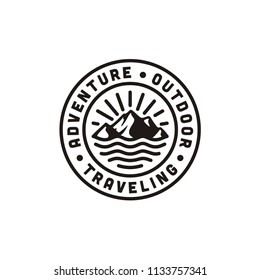 Mountain, Sea and Sun for Hipster Adventure Traveling logo design inspiration