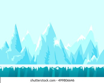 Mountain seamless background illustration for mobile app, web, game with snow and ice. Vector game illustration template .
