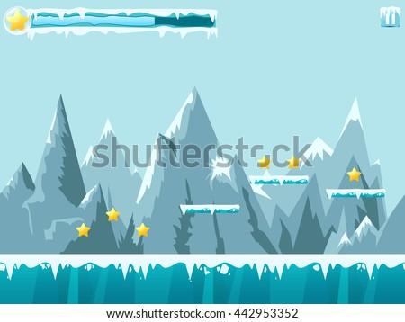Mountain Seamless Background Illustration Mobile App Stock