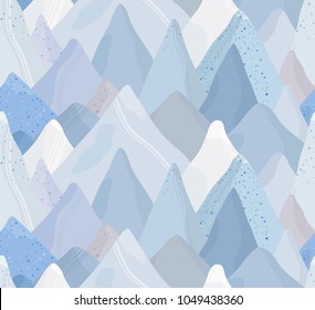 Mountain Seamless pattern. Landscape vector illustration. Abstract Background. Hand drawn Rocks.