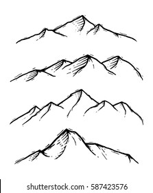 Mountain set with hand drawn style